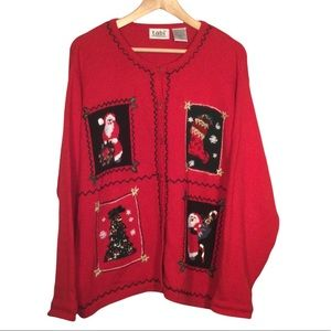 VINTAGE TABI Red Ugly Christmas Button Up Cardigan Knit Sweater Size XL